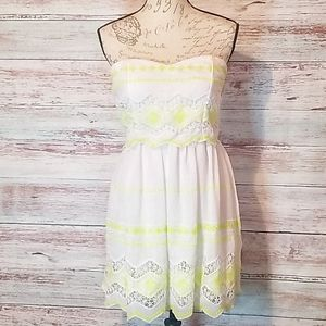 Coty triangles dress white neon yellow cottage cor